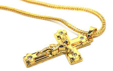 Goth Jewelled Jesus Crucifix Cross Pendant Necklace Hip Hop 18K Gold Plated
