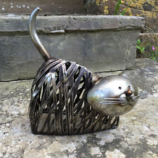 FABULOUS GREY METAL SITTING CAT GARDEN SCULPTURE HOME DECOR NEW & BOXED 24016