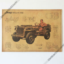 World war II US JEEP Vintage Style Retro Paper Poster Good Gifts poster