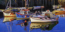ORIGINAL OIL PAINTING, A GROUP OF COLORFUL FISHING BOATS, Listed Artist NR!