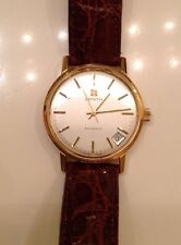 Vintage Zenith Mens 18K Gold Automatic Surf Wristwatch Brown Leather Gents