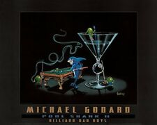 "Michael Godard-""POOL SHARK 2"" Martini-Olive-Cigar-Billiards-Las Vegas-Poster"