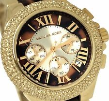 MICHAEL KORS LADIES ROLLED GLITZ CAMILLE CHRONOGRAPH  43MM WATCH MK5901 Nib/Tags