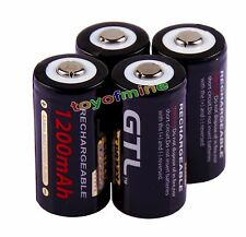 4pcs XCR123A 123A CR123  Blue GTL 1200mAh3V Rechargeable Battery Cell USA