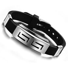 Men Punk Stainless Steel Silicone Wristband Cuff Bracelet Bangle Fashion Jewelry