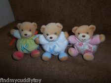 3 x MINI KALOO CHUBBY TEDDY BEAR BABY COMFORTER SOFT TOYS WHITE PINK FLORAL +