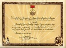 ROMANIA Laureate of State Prize RPR communist award document 3rd class very rare