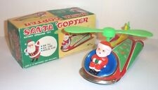 MIB 1950's BATTERY OPERATED SANTA COPTER HELICOPTER MINT TIN LITHO CHRISTMAS TOY
