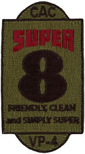 USN PATROL SQUADRON FOUR (VP-4) PATCH - COMBAT AIR CREW 8 - SUPER 8 - SUBDUED