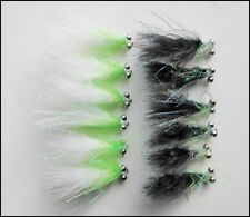 Cats Whiskers Trout Flies, 12 Black & White Shaggy Cats, Size 10, Fly Fishing