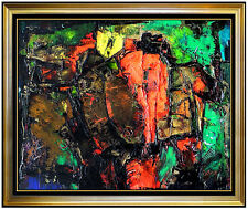 Pierre Patry Original Painting Rare Oil on Canvas Signed Abstract Cosmic Artwork