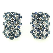 Sterling Silver 925 Marquise Genuine Natural Blue Sapphire Gem Earrings