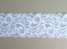 CRAFT-SEWING-ELASTIC 2mtrs x 45mm Shiny White Fancy Design Elastic Lace