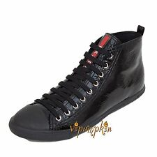 PRADA BLACK PATENT LEATHER NAPLAK HIGH TOP SNEAKERS SHOES NEW 11 US 41 EU