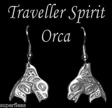 NEW Salish Coastal Native Killer Whale Pewter ORCA EARRINGS