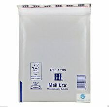 5 A000 A/000 White 110 x 160mm Padded Bubble Wrap Mail Lite Postal Bag Envelope