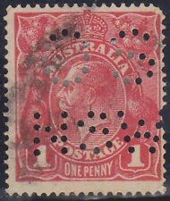 (XR52) 1918 AU 1d red KGV perforated OS NSW