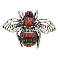 Burnished Silver and Crystal Bee Brooch / Crystal Insect Brooch   #138