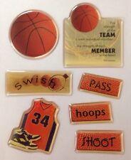 BASKETBALL PHOTO GEM EPOXY STICKERS(7pc)Paper House,Sticky Pix Pass•Swish•Shoot•