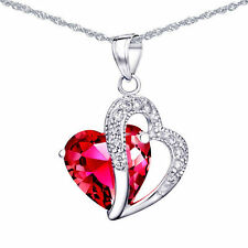 5.66 Ct Created Red Ruby Necklace Pendant Gemstone 925 Sterling Silver Chain 18""