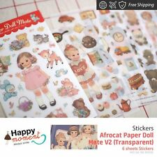Afrocat Paper Doll Mate V2 (Transparent) Stickers Craft DIY Decor Diary 6 sheets