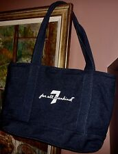 NEW Seven For All Mankind Blue Dark Wash Denim Zip Close Tote Shopper Bag