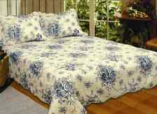 FRENCH COUNTRY BLUE ROSE * King * QUILT SET : COTTAGE SHABBY CREAM COMFORTER