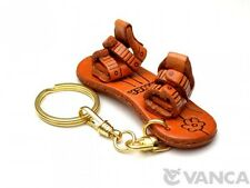 Snowboard Handmade 3D Leather (L) Keychain/Keyring *VANCA* Made in Japan #56120