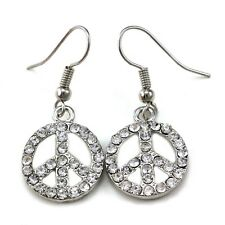 Peace Sign Dangle Earrings Silver Tone Clear Crystal Stone Children Kids Jewelry
