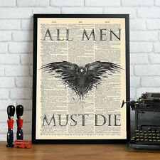 Game Of Thrones - All Men Must Die Mock Dictionary Page Art Print Poster.