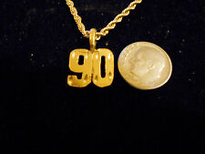 bling gold plated sport didget number 90 pendant charm chain hip hop necklace gp