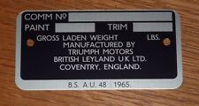 TRIUMPH TR6 COMMISSION PLATE - CR SERIES CARS - FREE P&P TO UK