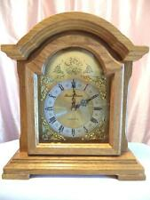 "Vintage Table Clock Daniel Dakota American Colonial Oak Quartz 11.5"" NIB"