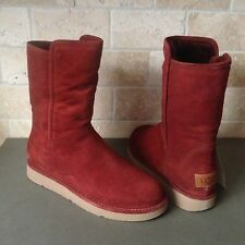 UGG COLLECTION ABREE SHORT RUST SUEDE SHEARLING BOOTS US 7 WOMENS 1009250