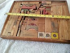 OLD VINTAGE ANTIQUE WOOD WOODEN BUILDING BLOCKS TOY GAME SET 2 LAYERS FULL