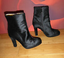 *31*   SUPERB REAL PONY FUR BLACK PLATFORM ANKLE BOOTS  EU 38