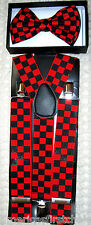BLACK RED CHECKER BOW TIE+BLACK RED CHECKERS ADJUSTABLE WIDE SUSPENDERS COMBO