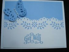 Handmade Blue Get Well Card Made Stampin Up Uchida Marvy Butterfly Punch Bazzill