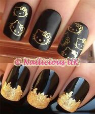 NAIL ART SET #65. GOLD HELLO KITTY FACES WATER TRANSFERS/STICKERS & GOLD LEAF