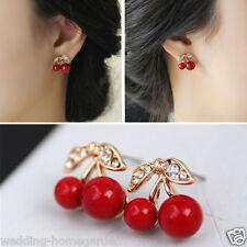 Popular Red Cherry Rhinestone Crystal Stud Earring Women Gold Plated Jewelry