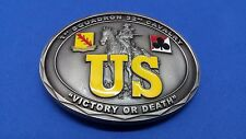 """Belt Buckle 1st Squadron 32nd Cavalry """"Victory or Death"""" US, Pre-owned Condition"""