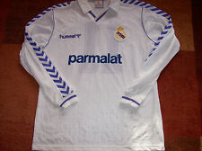 Real madrid 1989 1990 match issued butragueno #11 l/s football shirt camiseta