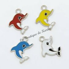 4 BRELOQUES METAL ARGENTE DAUPHINS 4 COULEURS - CREATION BIJOUX PERLES CHARMS