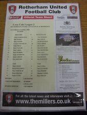 19/04/2008 Colour Teamsheet: Rotherham United v Dagenham And Redbridge. Thanks f