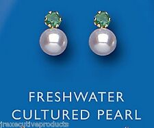 9k Yellow Gold Real Emerald & Freshwater Pearl Earrings - UK Made - Hallmarked