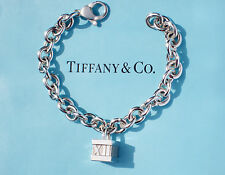 Tiffany & Co Sterling Silver Notes Atlas Box Charm 7.5 Inch Padlock Bracelet