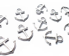10 x 18mm Quality Silver Plated Small Anchor Charm Pendants, Nautical Beach Sea