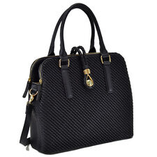New Fashion Luxury Dasein Faux Leather Medium Weaved Satchel Handbag Purse Bag