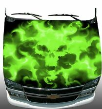 Lime green Skull flame fire Hood Wrap Wraps Sticker Vinyl Decal Graphic