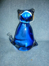 """SHUDEHILL GIFTWARE BLUE & CLEAR GLASS CAT 4"""" EX CON"""